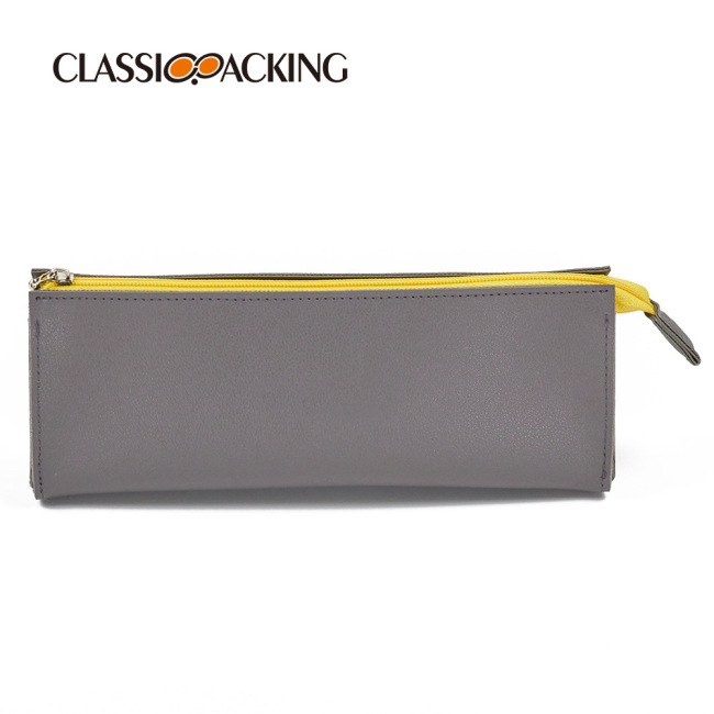Simple pen bag portable large capacity cosmetic bag multi function zipper stationery bag PU waterproof storage bag customization