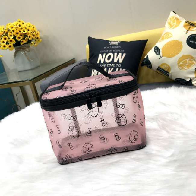 Cosmetic bag for women large capacity storage bag transparent mesh large size wash simple portable cosmetic storage bag
