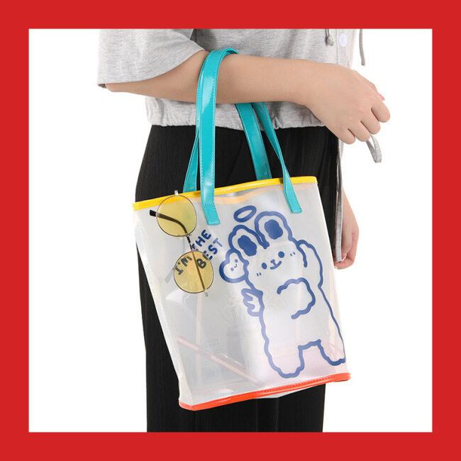 Beach handbag transparent summer Female Travel Portable practical large capacity bear jelly bag