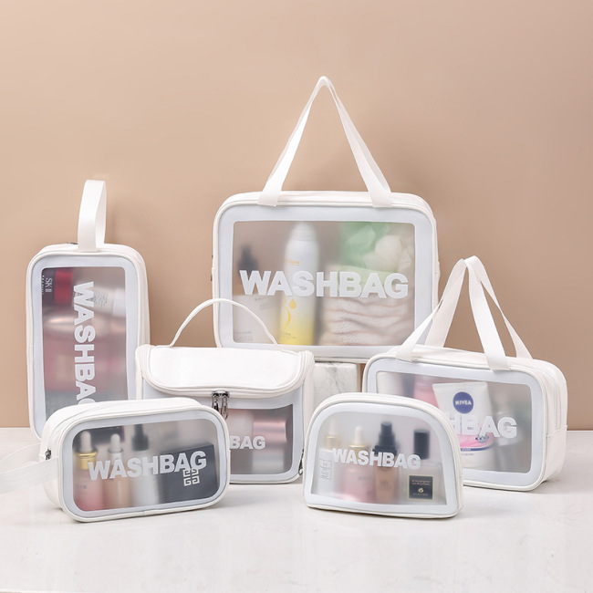 Transparent cosmetic bag PVC wash bag three piece set translucent Pu scrub bath storage bag large capacity female
