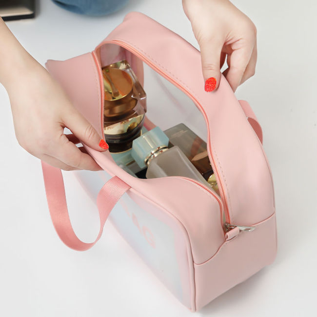 Korean Pu Cosmetic Bag Travel portable storage washing bag frosted translucent waterproof portable storage bag customization