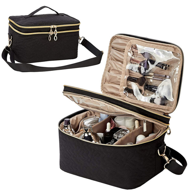 Large capacity double skin care products for women cosmetic brush storage bag