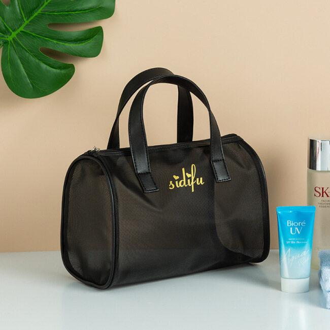 Mesh makeup wash storage bag large capacity transparent bath Swimming Bag Travel Beach Bag three piece handbag