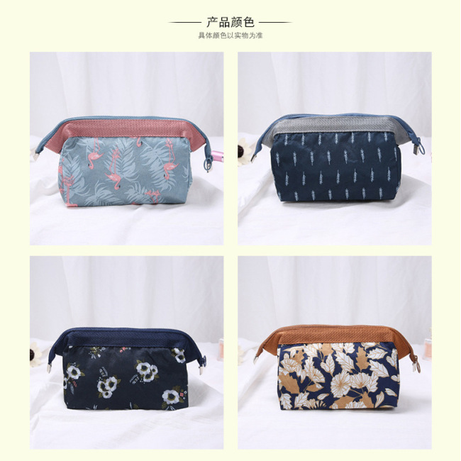 New multifunctional cosmetic bag Flamingo portable washing bag travel storage bag steel frame zipper cosmetic bag in stock