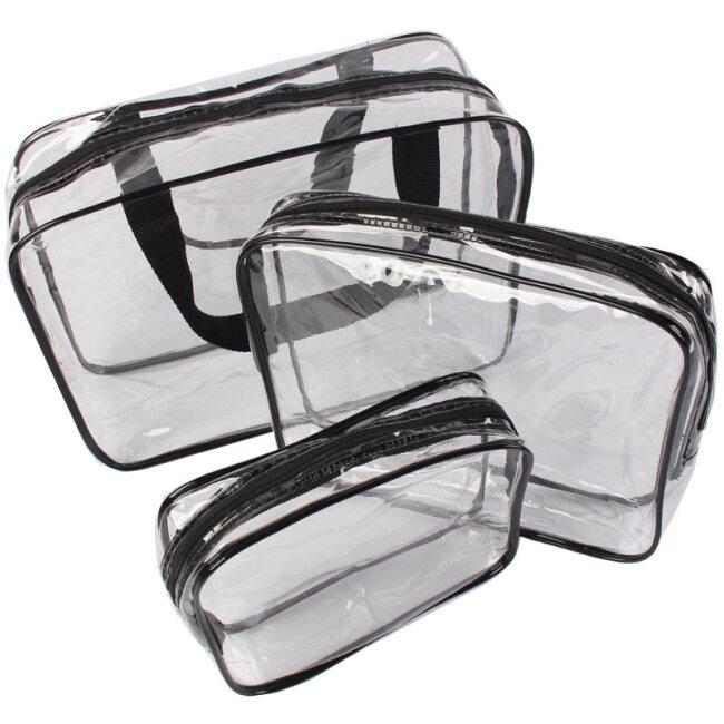 Cosmetic bag transparent PVC travel wash bag large capacity storage bag portable out visual finishing bag