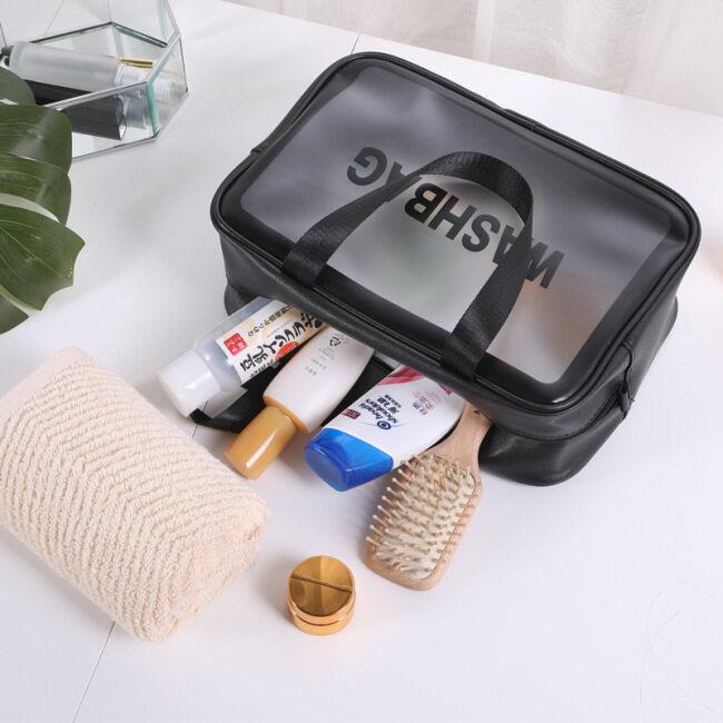 Large Capacity Transparent Pu Travel Storage Cosmetic Bag