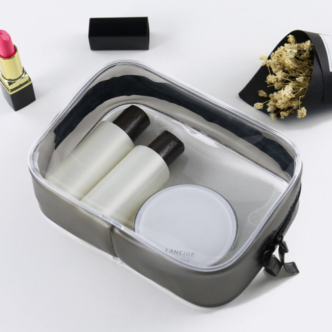 Three dimensional waterproof packaging bag PVC storage bag zipper transparent washing bag