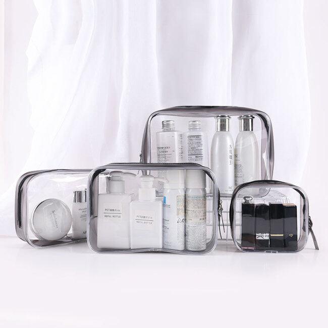 PVC cosmetic bag transparent waterproof portable travel multifunctional wash storage plastic zipper packaging bag in stock