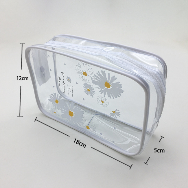 Custom make-up bag, hot pressed and thickened, large capacity wash and gargle products, multi-functional waterproof transparent PVC make-up bag