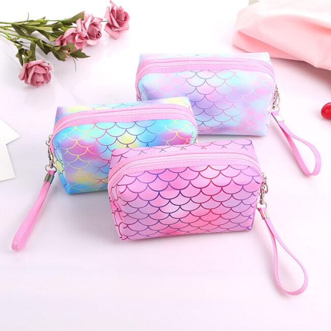Factory direct supply creative PU skin colorful fish scale cosmetic bag waterproof travel printing storage wash storage bag