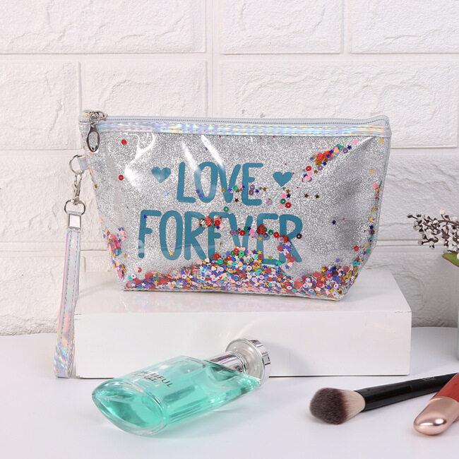 New Sequin print letter cosmetic bag cartoon cosmetics wash travel storage bag hexagonal handbag can be customized