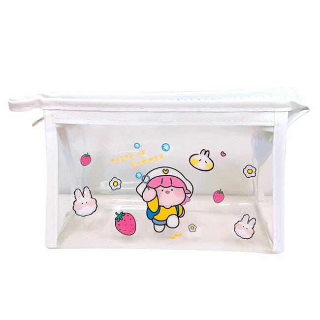 Ins cute cartoon transparent cosmetic bag net red girl heart travel storage bag portable waterproof washing bag storage