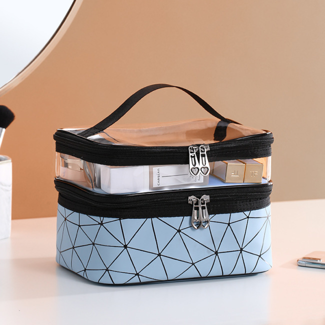 New double layer waterproof cosmetic bag large capacity transparent wash bag waterproof travel convenient skin care product storage bag