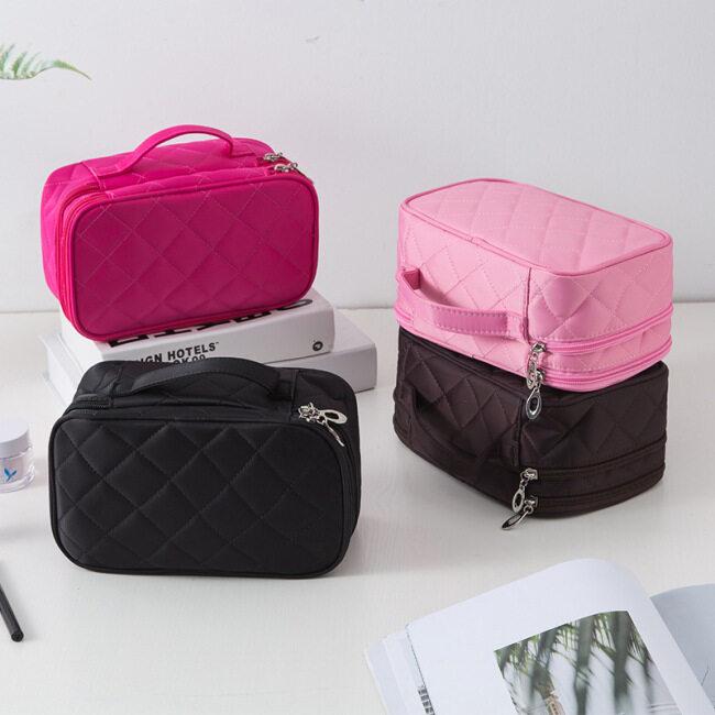 Cross border wholesale of new make-up bag, wash bag, creative Lingge waterproof make-up box, nylon black mirror storage bag