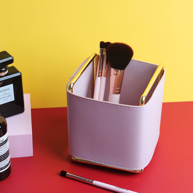 Factory direct sales Nordic ins creative leather pen electroplating iron desktop brush living room remote control storage box