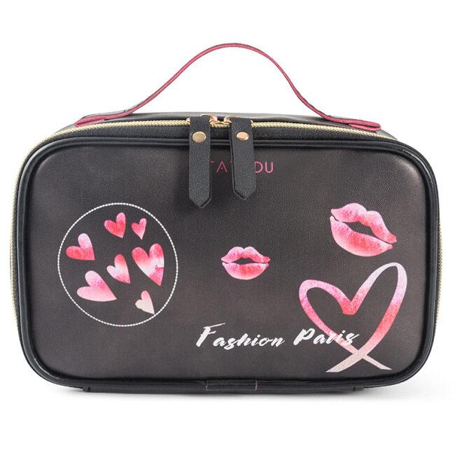 2021 New Stripe love printing storage bag cross border Pu portable cosmetic bag European and American large capacity wash bag