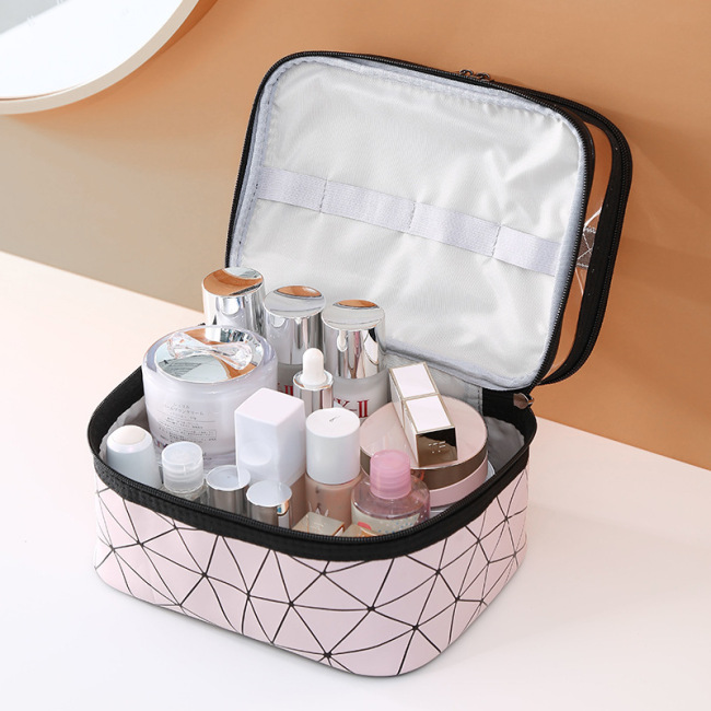 New double layer waterproof cosmetic bag large capacity pink wash bag waterproof travel convenient skin care product storage bag