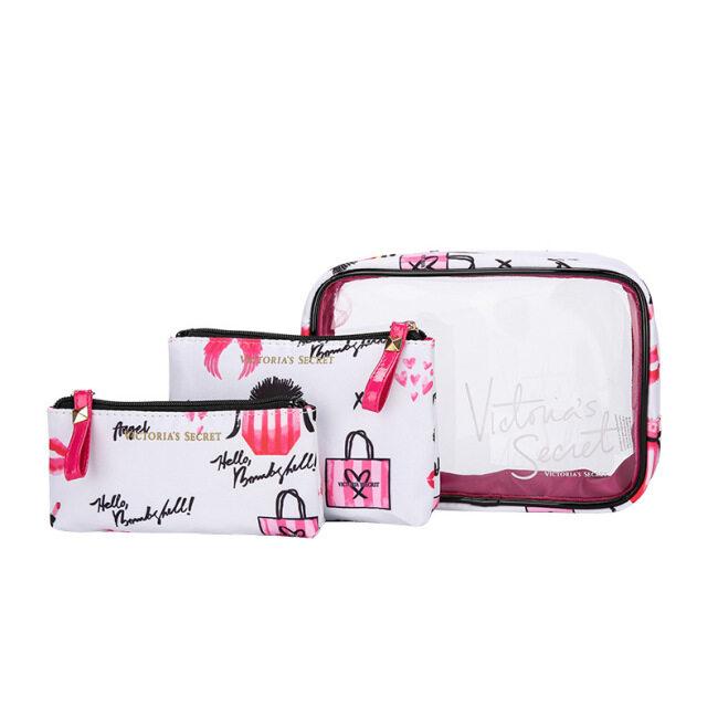 2021 new large capacity three piece travel wash bag transparent make-up bag splash proof water storage bag