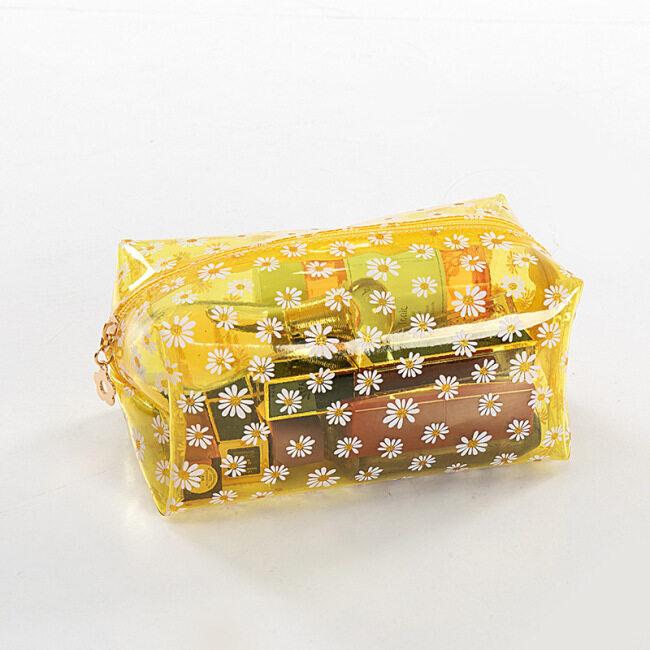 Korean printing Daisy cosmetic bag anti splash PVC cosmetic bag small daisy transparent cosmetic bag