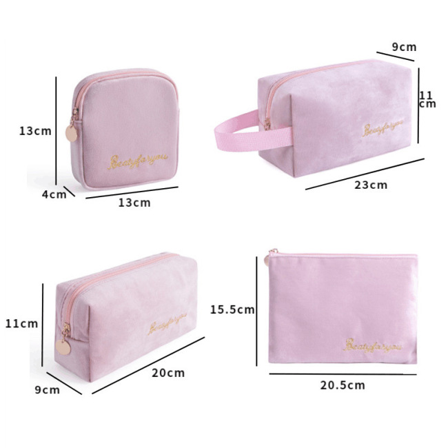 Ins new velvet cloth cosmetic bag portable cosmetic storage bag large capacity square washing bag four piece set