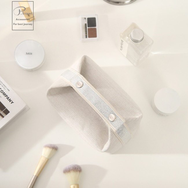 P. Travel new Japanese style commuting small fresh cotton hemp Suya portable multifunctional cosmetics daily storage bag