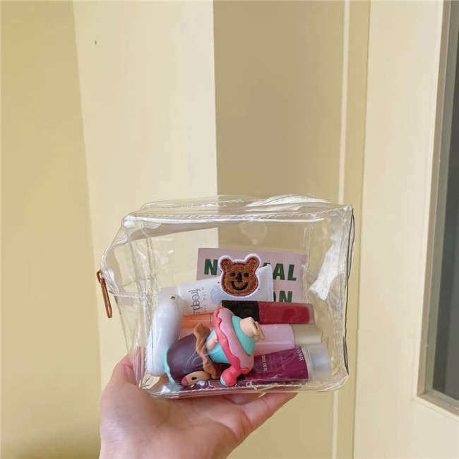 New style lovely brown bear cosmetic bag portable simple lazy PVC transparent wash bag storage bag