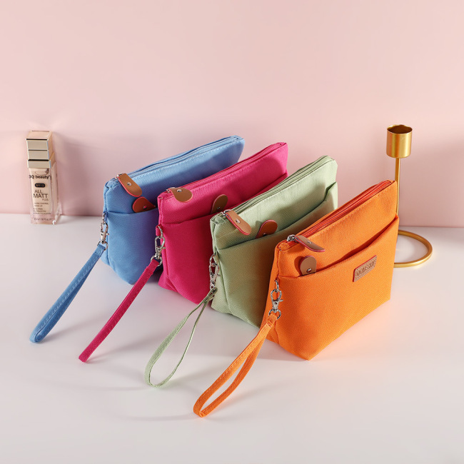 New fashion double zipper candy color storage bag portable travel storage wash make-up bag can be customized logo
