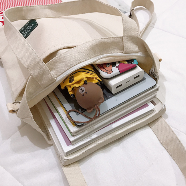 Ins multi purpose women's Korean single shoulder canvas bag fashion literature and art college students backpack class tutorial bag wholesale