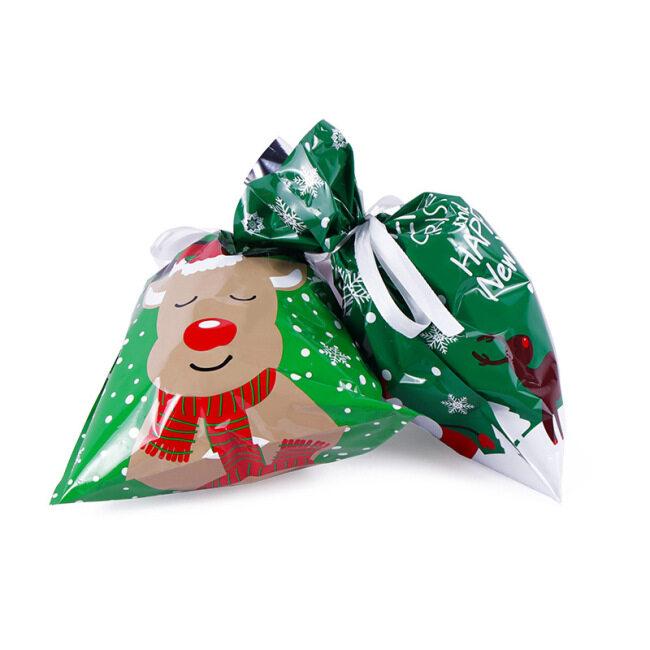 Amazon cross border special drawstring plastic gift bag ribbon Candy Bag New Year elk snowflake bundle mouth christmas bag