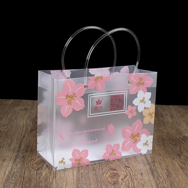 Production of PP handbag, transparent plastic bag, leather tube, gift bag, frosted advertising, exquisite clothing, can be customized