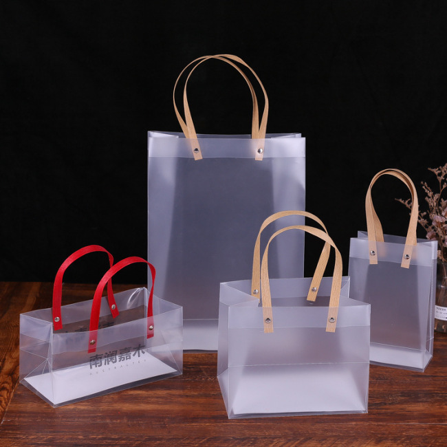 Bag custom PVC handbag candy PP plastic packaging bag transparent frosted jewelry gift bag with gift bag