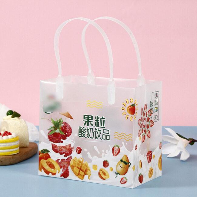 Transparent frosted PP handbag customized beverage window shopping gift bag advertising plastic handbag customized logo