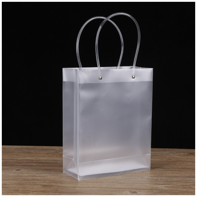 Customized transparent PP plastic bag, customized beverage gift bag, PVC frosted shopping bag, logo can be printed