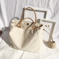 Factory direct supply customized natural color eco friendly recycled cotton canvas tote shopping bag with leather handle