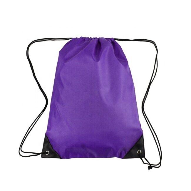 High capacity logo printed oem blank drawstring shopping bag