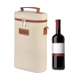 Custom 2 Bottles Christmas Insulated Carrier Leather Tote Canvas Travel Padded Sublimation Portable Reusable Ice Wine Cooler Bag