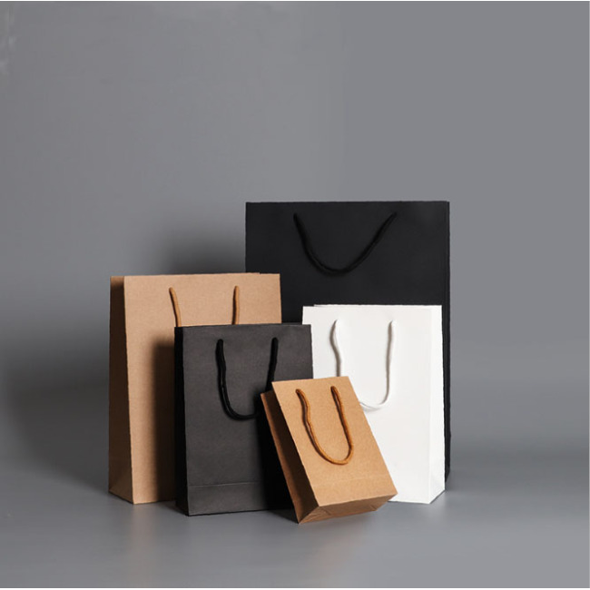 Custom Printed Your Own Logo cardboard packaging White Brown Kraft Gift Craft Shopping Paper Bag With  Handles