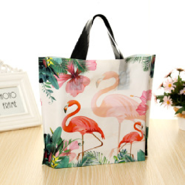 Biodegradable Soft Loop Handle Plastic Bag With Custom Logo Shopping Bag For Clothing Packaging