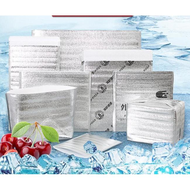Cold ice pack Disposable thickening aluminum foil Lined thermal insulation bag for seafood/chocolate food shipping