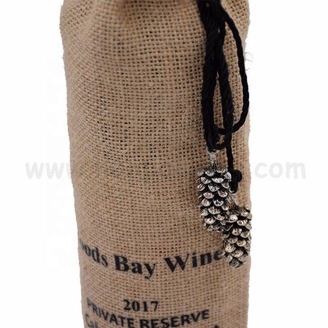 Custom logo printing burlap party wedding gift pouch jute promotional single wine bottle bags