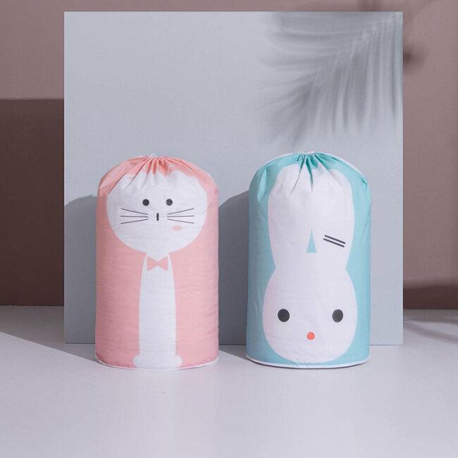 Wholesale creative travel moisture-proof waterproof peva cartoon printed round draw draw string quilt storage bags