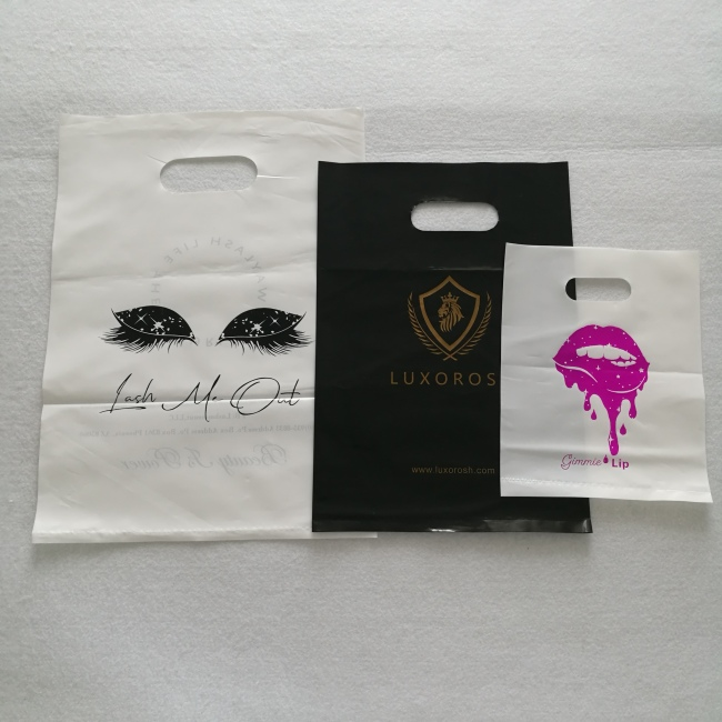 Hot sell high quality HDPE handle promotion gloss poly plastic bags