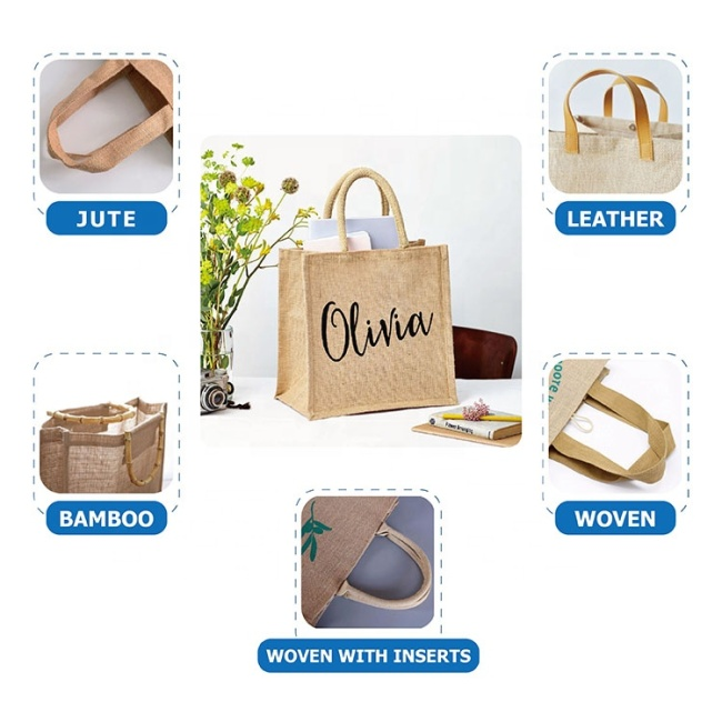 Gift Custom Logo Eco Reusable Cloth Carrying Bags Women Beach Hand Tote Laminated Grocery Promotional Shopping Handbags Jute Bag
