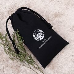 Wholesale Cheap In Stock 5 Size Natural Color Black Draw String Pouch Cotton Rope 8oz Canvas Drawstring Bag