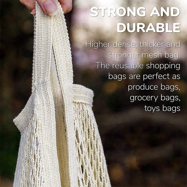 Cheap Large Reusable Organic Cotton Tote Mesh Shopping String Net bag For Vegetables And Package