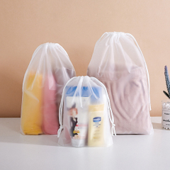 Clear transparent plastic frosted drawstr promotional christmas gift bag set package drawstring pouch