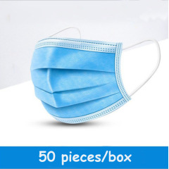Disposable 3 layer masks in blue