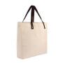New fashion design custom logo color cotton brown leather handles tote bag