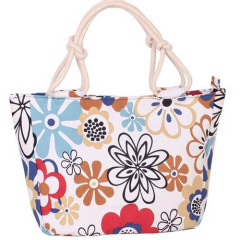 Flower Print Stripes Large Beach Bags