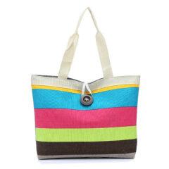 Striped Ladies Tote Bag Large Capacity